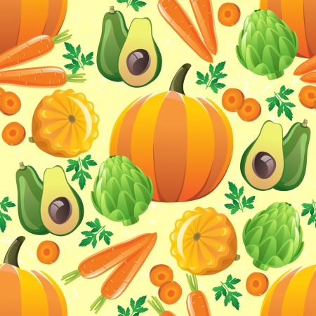 Seamless pattern with pumpkin, avocado, squash, artichoke and carrot Vector