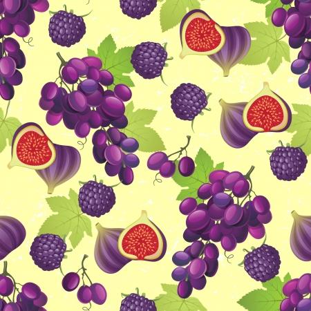 fig leaf: Seamless ornament with violet fruits
