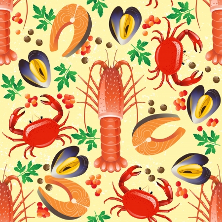 Seamless background with seafood - lobster, crab, salmon and mussel Stock Vector - 16966209