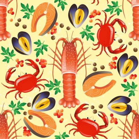 cozza: Sfondo trasparente con frutti di mare - aragosta, granchio, salmone e cozze Vettoriali