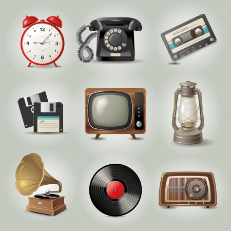 9 highly detailed retro-styled objects Vector