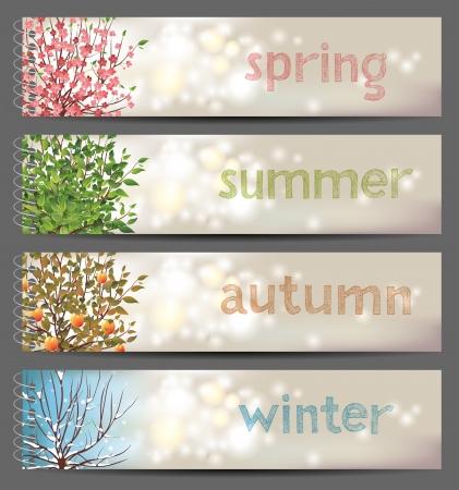 seasons: 4 seizoenen horizontale banners Stock Illustratie