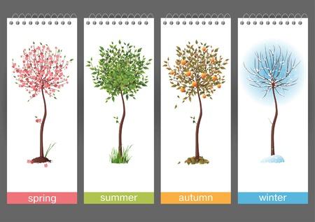 neige qui tombe: Petit arbre en 4 saisons Illustration