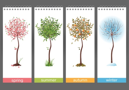 vertical banner: Small tree in 4 different seasons