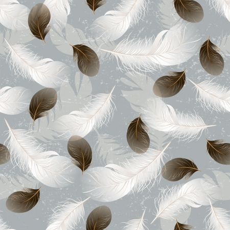 lightweight ornaments: Seamless background with white and brown feathers Illustration