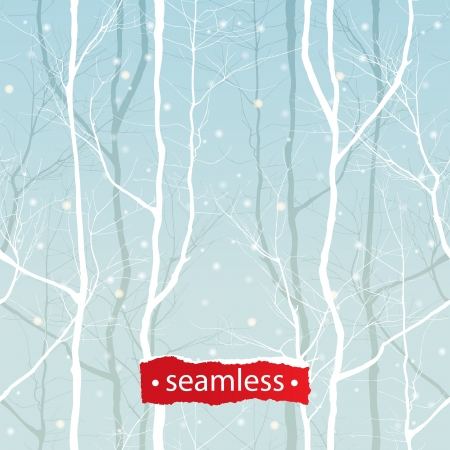 Seamless ornament with winter trees  Vector