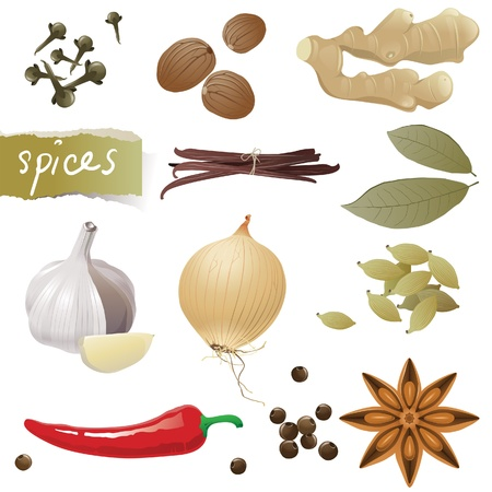 ginger root: Great set of different spices