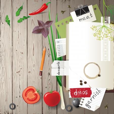 Hoogst gedetailleerd open kookboek met kruiden en groenten over houten achtergrond