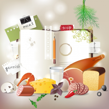 Highly detailed open cookbook with products for cooking Vector