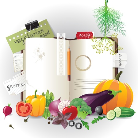 Highly detailed open cookbook with vegetables Vector