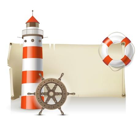 timone: Retro-designato mare banner con posto per il testo