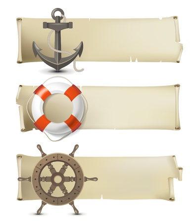 scroll wheel: Retro-styled sea banners