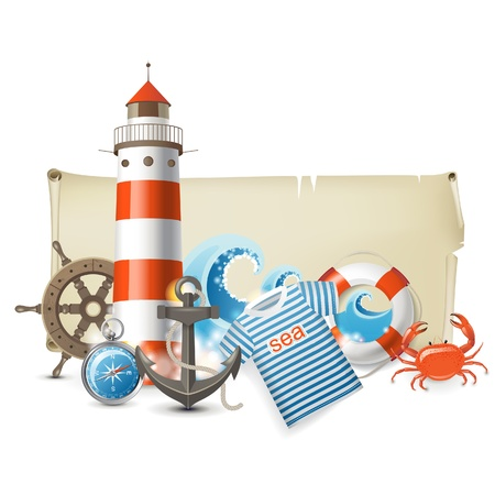 roer: Retro-stijl banner met zee iconen