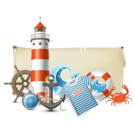 ancre marine: Retro-styled bannière avec des icônes de la mer Illustration