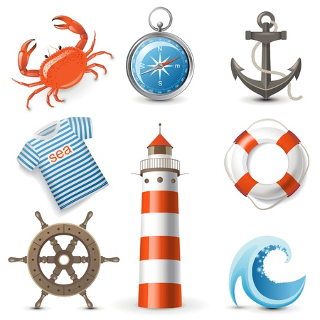 Highly detailed sea icons set Vector