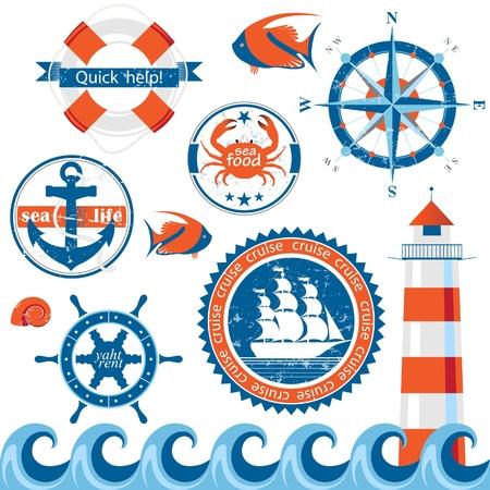barca a vela: Set di emblemi di mare in stile retr� Vettoriali