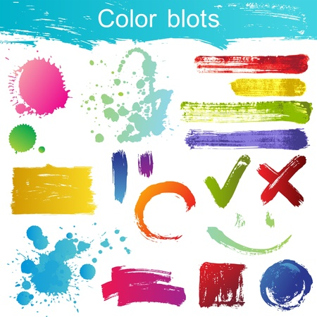 paint strokes: Great set of color blots