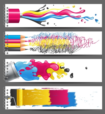 printer drawing: 4 bright CMYK banners