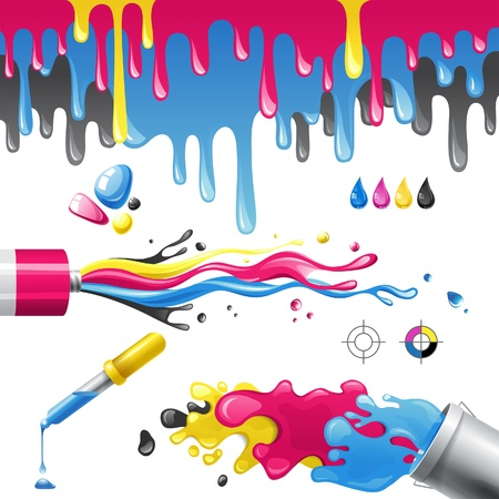 printer drawing: Bright splashes in CMYK colors Illustration