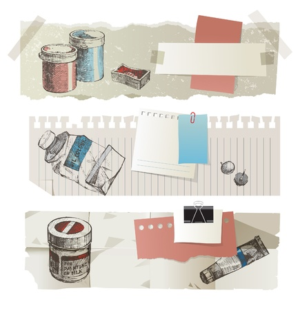paper arts and crafts: Retro-styled paper banners with hand drawn paint tools Illustration