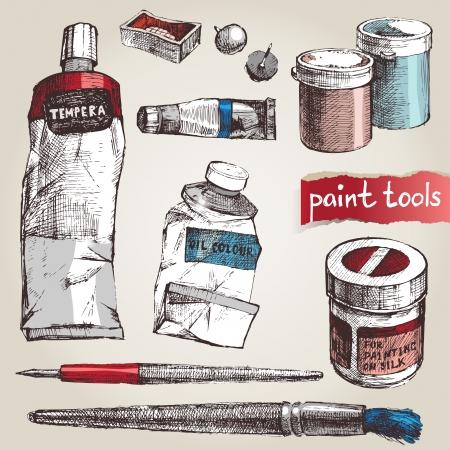 paleta de pintor: Conjunto de herramientas de la mano de pintura drawm
