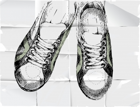 Hand drawn sneakers over crumpled paper background Stock Vector - 17922233