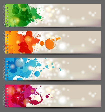 multi colors: 4 banner with hand drawn splashing paints