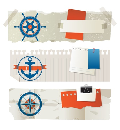 Stylized paper banners with nautical elements and place for your text Vector