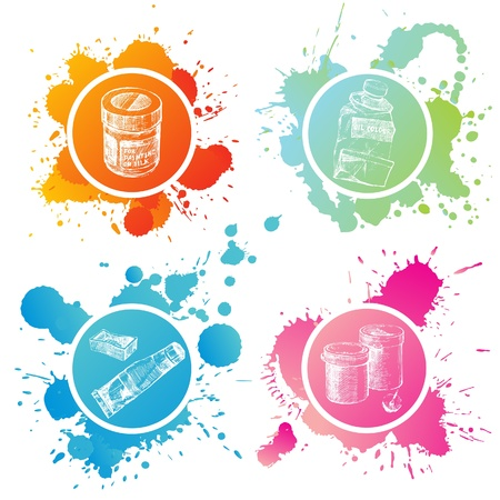 Hand drawn paint banks and tubes over splashing background Vector