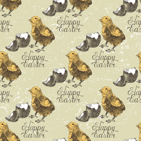 Hand drawn Easter seamless with chicks and broken eggshell Vector