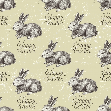 Hand drawn Easter seamless with bunny Vector