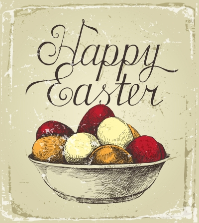 religious text: Retro-styled Easter card with hand drawn eggs Illustration