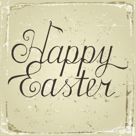 Happy Easter hand drawn type in retro style Vector