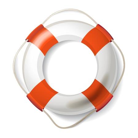 life buoy: Realistic life buoy over white background Illustration