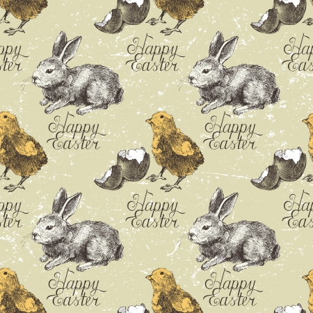 Hand drawn Easter seamless with bunny and chick Vector