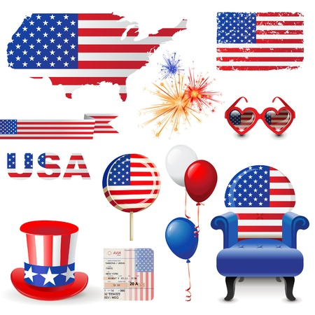 Design elements in American flag colors Vector