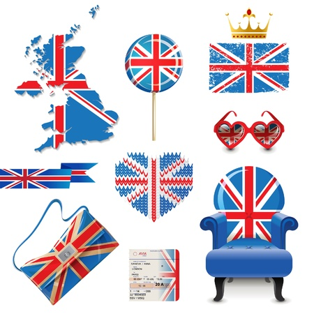 Design elements in British flag colors Vector