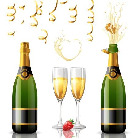 Offene und geschlossene Flasche Champagner, goldene Luftschlangen und 2 volle Gläser