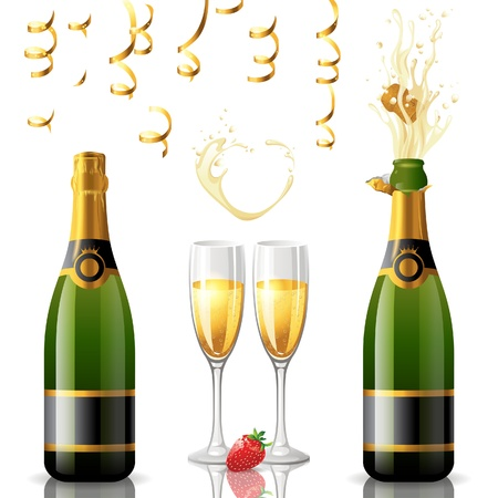 champagne bottle: Open and closed bottle of champagne, golden streamers and 2 full glasses Illustration