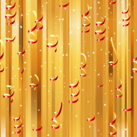 trumpery: Red paper streamers seamless over golden background Illustration