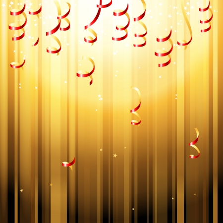 Red paper streamers over bright golden background Vector
