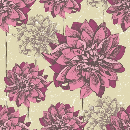 dahlia flower: Retro-styled seamless pattern with hand drawn dahlia flowers