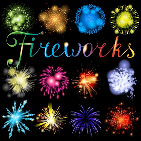 Great highly detailed fireworks set Stock Vector - 18382296