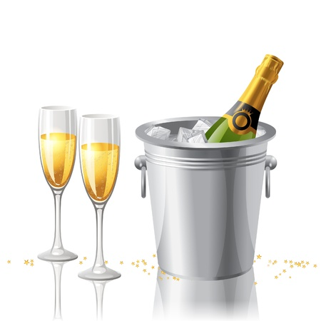 2 full glasses and a bottle of champaigne in a bucket with ice Vector