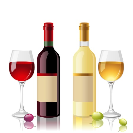 2 bottles of red and white wine with full glasses Stock Vector - 18382301