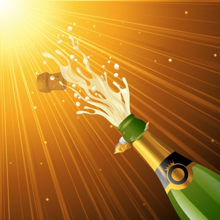 wine cork: Splashing champagne over golden glamorous background