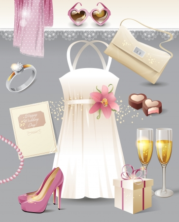 lily flowers set: Vintage wedding inspiration moodboard