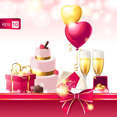 jewelry box: Bright wedding background in pink colors Illustration
