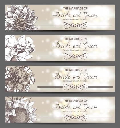 dalia: Retro-estilo invitaciones de boda con flores dibujadas a mano Vectores