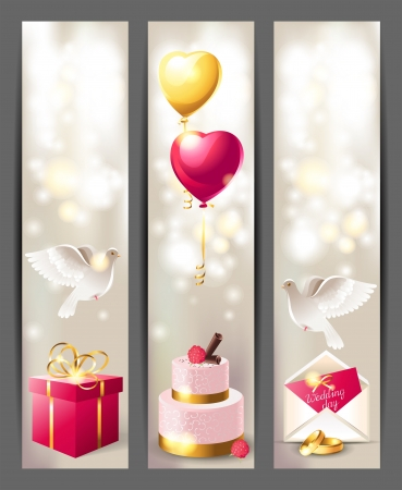 jewelry boxes: Glamorous vertical wedding banners in pink and gold colors Illustration